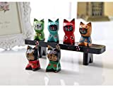 Himine Wooden Animal Cat Decoration Nativity Figurine Set