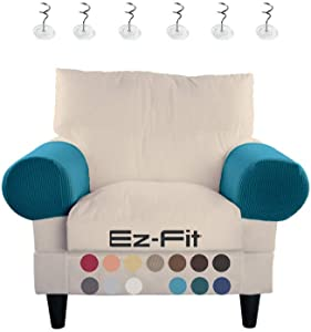 2 Pc Anti-Slip Spandex Stretch Fabric Sofa Armrest Cover Set Recliner,Armchair,Couch Armrest Protector for Upholstered Furniture Fitted Jacquard Design Material |Strapless with Free PINS (Teal)