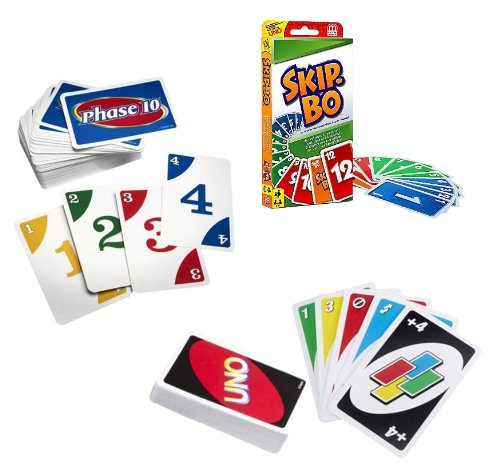 Mattel Card Game Set (Skip Bo, UNO & Phase (Uno Stack)
