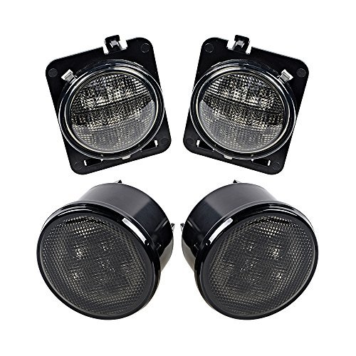 (Smoke Lens Amber LED Front Replacement Turn Signal Light & Fender Side Marker Light Assembly for 2007-2017 Jeep Wrangler JK JKU)