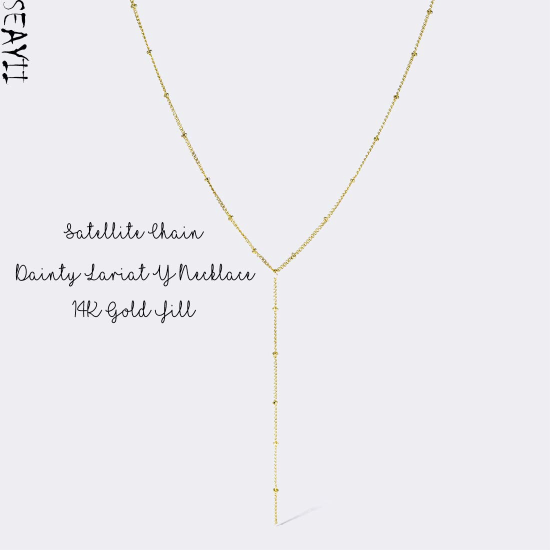 SEAYII Women Y Necklace Gold Pearl Dangle Bar Drop Lariat Dainty Gold Satellite Chain Coin Simple Layering 14K Gold Fill Delicate Handmade Gold Jewelry Gift NK014