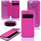 Raidfox iPhone 5S Case, iPhone 5 Case, Flip Window View Smart Case with Matte Transparent back Cover for iPhone 5s / 5 (Pink)