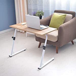 Unine Adjustable TV Tray Table Folding Desk, Dinner Tray on Bed & Sofa with Adjustable Height 16.7'' to 30'',Desktop Flipped Freely 270°,Foldable Z-Shaped Tables (Gold)
