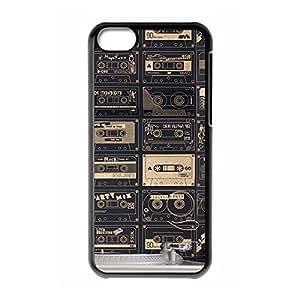Cassette tape Custom Snap-on Hard Back Case for iPhone 5C - Black 225-10