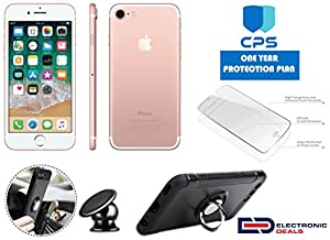 Apple iPhone 7 GSM Unlocked w/ED Bundle - $99 Value (Bundle Includes: Ring Case + Holder Magnetic + Screen Protector + 1Y CPS Limited Warranty), (Rose Gold, 32GB), (Certified Refurbished)