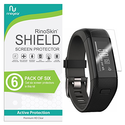 Price comparison product image [6-Pack] RinoGear for Garmin Vivosmart HR+ Plus Screen Protector [Active Protection] Full Coverage (Garmin Approach X40) Flexible HD Crystal Clear Anti-Bubble Film