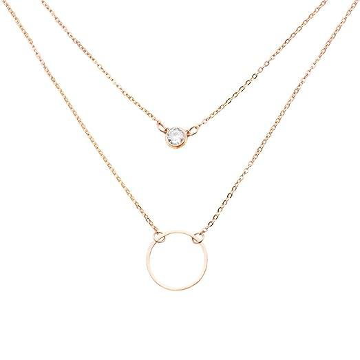 Amazoncom Simple Karma Circle Cubic Zirconia Layered Necklaces