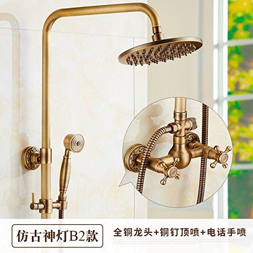 C Hlluya Professional Sink Mixer Tap Kitchen Faucet All copper antique shower, hot and cold valve faucet handheld sprinkler riser shower large shower kit,N