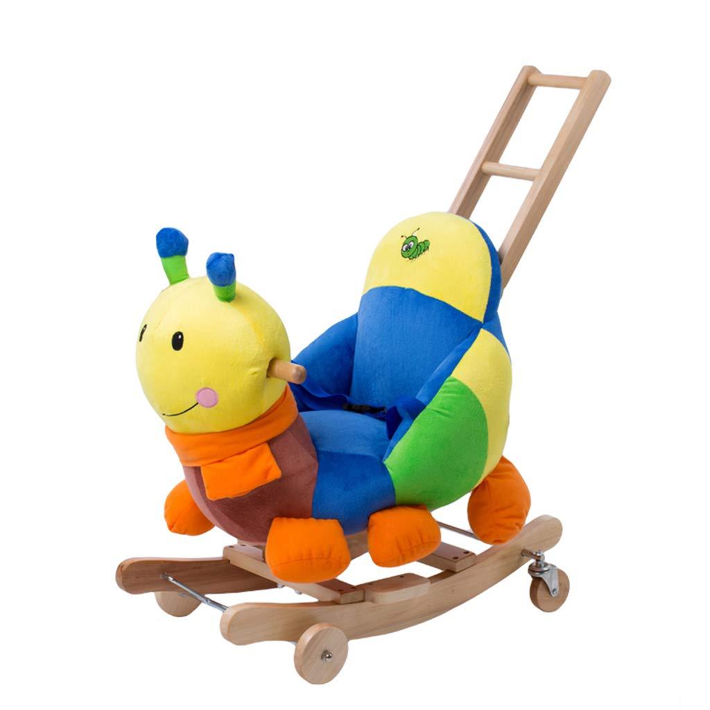 Cavallo a dondolo QIQIDEDIAN Giocattoli per Bambini Culla a Dondolo in Legno massello con Musica Baby Trojan Baby a Doppio Uso