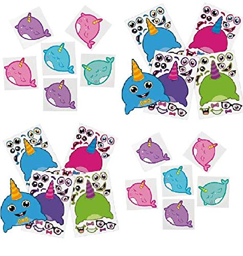 - (96) Cute Narwhal Tattoos & Stickers! 24 Colorful Make A Narwhal Sticker Sheets & 72 Temporary Tattoos- Great for: Birthday Party Favors, Easter Baskets, Stocking Stuffers, Crafts, Classroom, Prizes and more! ()