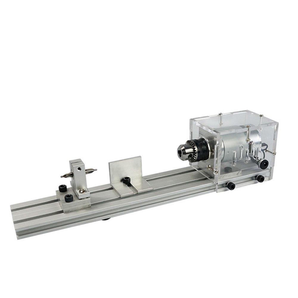 KKmoon 100W Mini Tornio per Legno DIY Rettifica e lucidatura Perline Lavorazione del Legno Lucidatura Trapano Utensile Rotante 12-24VDC