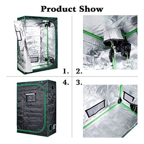 "517UjLwob%2BL - Quictent SGS Approved Eco-friendly 48""x24""x72"" Reflective Mylar Hydroponic Grow Tent with Heavy Duty Anti-burst Zipper and waterproof Floor Tray for Indoor Plant Growing 4'x2'"