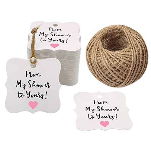 Original Design 100PCS Baby Shower Favor Tags,Original Design from My Shower to Yours Tags ! Paper Gift Tags Kraft Hang Tags with 100 Feet Natural Jute -