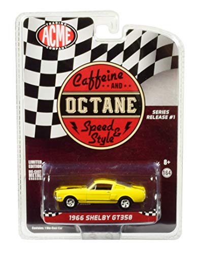 1966 Ford Mustang Shelby GT350 Yellow with Black Stripes Caffeine and Octane (2017) TV Show Release #1 in The Series 1/64 Diecast Model Car by Greenlight for Acme - Series Model Shelby 1
