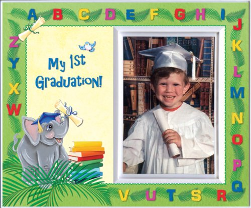 Pre-k Kindergarten Preschool Graduation Picture Frame | Affordable Colorful and Fun | Holds 3.5 x 5 Photo | Keepsake Gift for Parents | Innovative Front-Loading Photo | Elephants Design ()