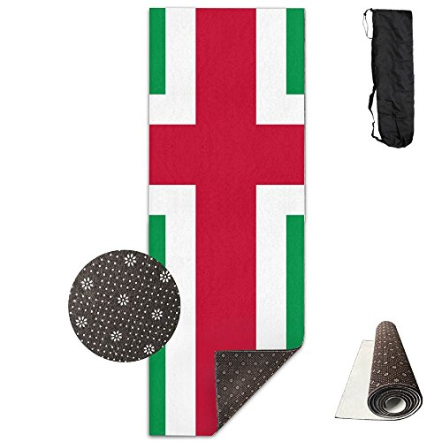 GONGYPND Flag Of Northern Italy Yoga Mat 72X24 Inch Premium Print Non-Slip Eco-friendly Anti-Tear Floor Pilates Exercise Mat For Yoga, Workout, Fitness With Carrying Strap by GONGYPND