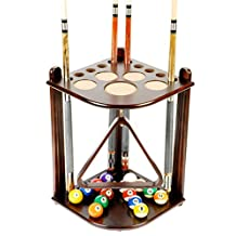 Iszy Billiards 10 Cue Stick and Pool Table Ball Floor Rack, Mahogany