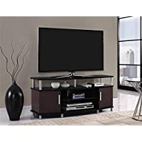 Premium Tv Stand for Flat Screens Wood Carson Console Furniture and Entertainment for 50 Inch (Black and Cherry)