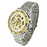 YouYouPifa Men's Alloy Strap Wind Round Mechanical Watches (Silver Strap / White Dial)