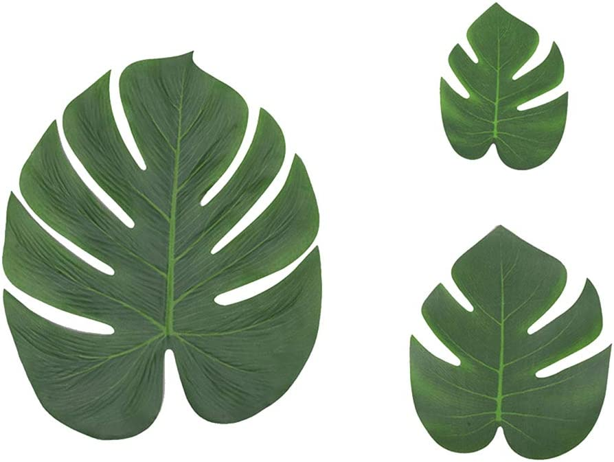 BESTOMZ 24 Pcs Artificial Tropical Palm Leaves Luau Party Decoration - Faux Palm Leaves Monstera Fake Large Green Leaf for Home Kitchen Table Decor, Birthday, Beach BBQ Party Supplies