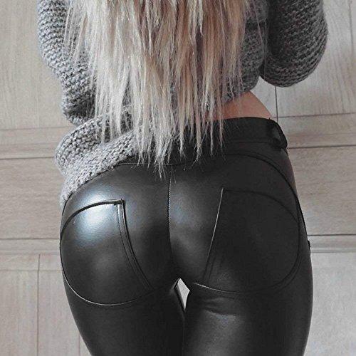Pantaloni High Elegante Nero Nero Sintetica Pantaloni Waist Skinny Elastico Chic Abbigliamento Pelle Autunno Pelle Treggins Moda Ragazza UC5qxwSY