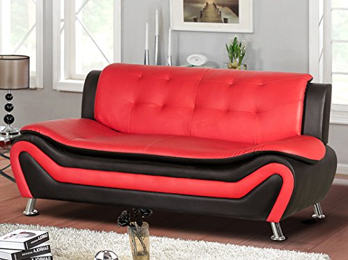 (Container Furniture Direct S5412-S Arul Leather Air Upholstered Mid Century Modern Sofa, 77.5