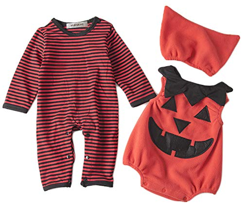stylesilove Infant Toddler Chic Halloween Baby Boy 3-PC Costume Set with Hat (90/18-24 Months, Pumpkin)