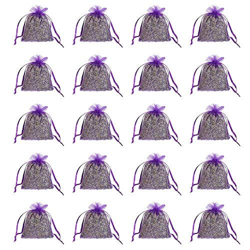 charts_DRESS 20 Pack Lavender Sachets Bag for Closets and Drawers, Lavender Scented Sachets - Naturally Dried Lavender Flower Buds - 6 Colors Available (Purple)