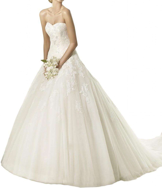 Gorgeous Bride Luxury Lang Herz-Ausschnitt Prinzessin Tuell Spitze ...