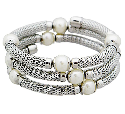 Pearl Three Row Mesh Bangle Bracelets