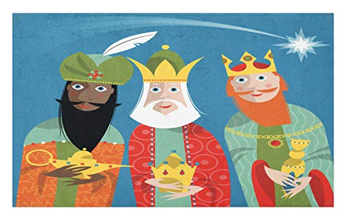 Ambesonne Ancient Doormat, Three Wise Men in Traditional Costumes Vintage Christmas Holiday Illustration, Decorative Polyester Floor Mat with Non-Skid Backing, 30 W X 18 L Inches, Multicolor