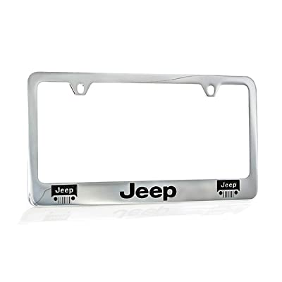 Jeep Logo Chrome Plated Metal License Plate Frame Holder: Automotive
