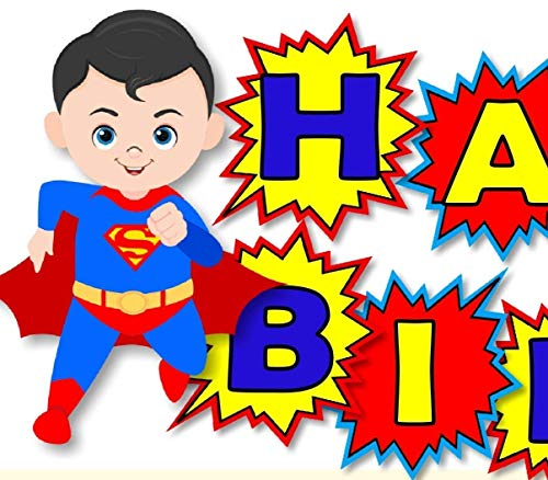 Personalized Superman Birthday Party or Baby Shower Banner- Optional Superheros, Batman, Captain America, Wonder Woman, Super Girl - Decorations Invitations, Sign, Favor Tags, Thank Yous - BCPCustom -