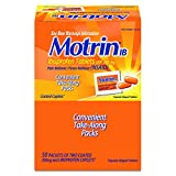 Motrin IB - Ibuprofen Tablets, Two Tablets Per Packet, 50 Packets Total, One Box