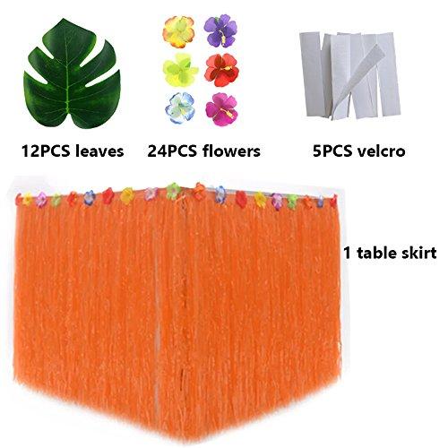 Hawaiian Luau Table Skirt with Tropical Flower Trim,9ft Orange Table Skirt with Luau Decorate -