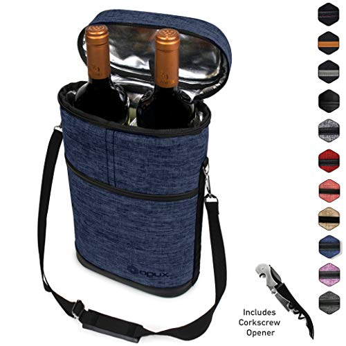 (Premium Insulated Wine Carrier Bag by OPUX | Elegant Wine Carrying Tote, Extra Protection, Convenient, Durable Wine Bottle Carrier | Corkscrew Included)