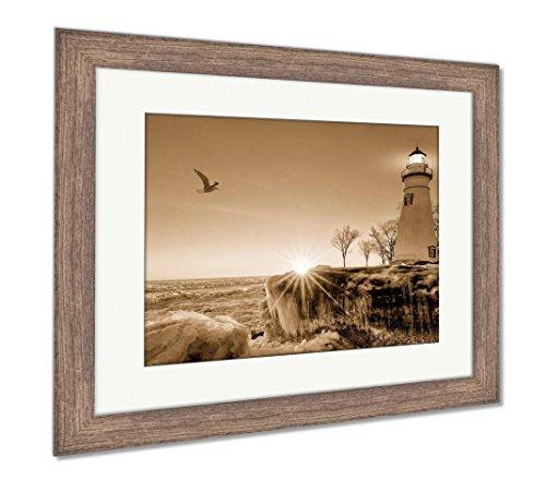Ashley Framed Prints Marblehead Lighthouse Winter Sunrise, Wall Art Home Decoration, Sepia, 34x40 (frame size), Rustic Barn Wood Frame, ()