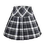 Urban CoCo Womens Elastic Waist Tartan Pleated School Skirt