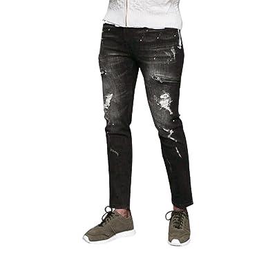 f93280461613 Ansenesna Hosen Herren Jeans Schwarz Lang Destroyed Effekte Freizeithose  mit Reisverschluss Vintage Knöchellang (28,