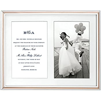 """Kate Spade New York Rosy Glow Double Invitation 5x7"""" Silver-Plated Metal Picture Frame"""