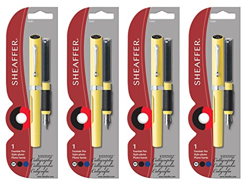 Sheaffer-Viewpoint-Calligraphy-Pen-Yellow-Medium-NIB-4-PACK-73401