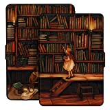 Ayotu Funda para Kindle Paperwhite Estuche E-Reader Wake/Sleep, Apto para Todas Las Versiones de 2012, 2013, 2015 y 2016 Kindle Paperwhite 300 PPI, K5-09 The Library