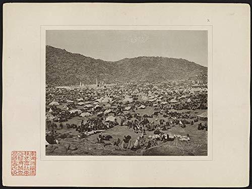 HistoricalFindings Photo: Pilgrims Gathered in Mina Valley,Tents,Camels,Muslim,Saudi Arabia,Spiritual Life