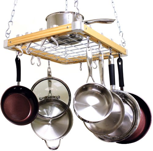 Ceiling Pot Rack Wood - Cooks Standard Ceiling Mounted Wooden Pot Rack, 24 by 18-Inch