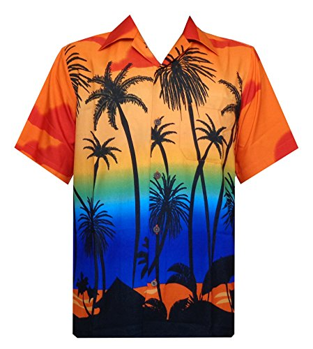 Hawaiian Shirt 42 Mens Allover Coconut Tree Beach Aloha Party Sunrise Orange 2XL
