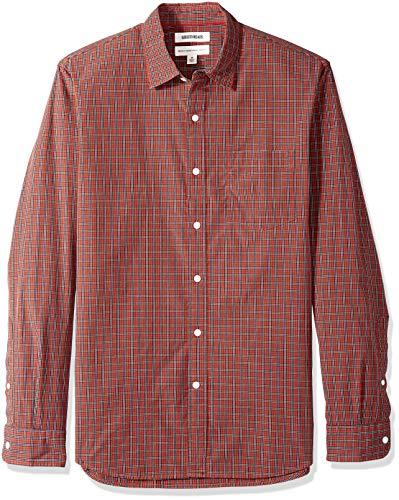 - Goodthreads Men's Standard-Fit Long-Sleeve Plaid Poplin Shirt, Rust Check, X-Large Tall