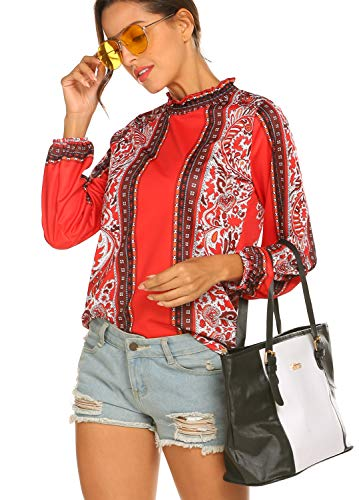 ladies tops,Womens Holiday Printe Party Ladies Casual Top Long Sleeve Shirt Red,XXL