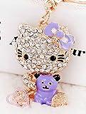 hello kitty car key chain - Elfstore Beautiful 3D PURPLE Hello Kitty With Cute BEAR rhinestone keychain, Car key ring, Handbag Purse accessories