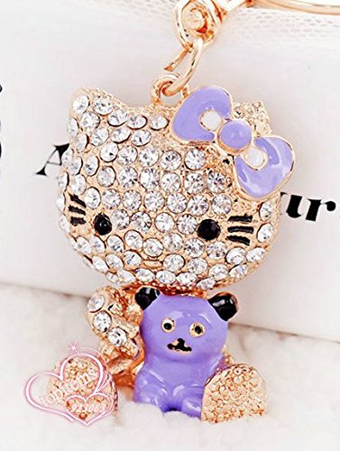 elfstore Beautiful 3d morado Hello Kitty con oso Rhinestone ...