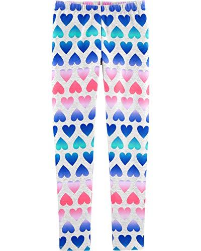 Osh Kosh Girls' Little Full Length Legging, Grey Hearts, 6-6X -